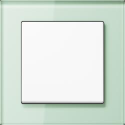 Jung Acreation biały włącznik w zielonej szklanej ramce mat. Pojedynczy uniwersalny.