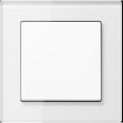 Jung Acreation biały włącznik w białej szklanej ramce. Pojedynczy uniwersalny.