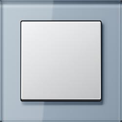 Jung Acreation srebrny włącznik w błękitnej szklanej ramce. Pojedynczy uniwersalny.
