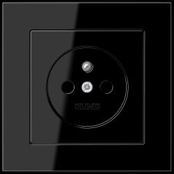 Gniazdo z uziemienim Jung Acreation w kolorze czarny połysk KOMPLET