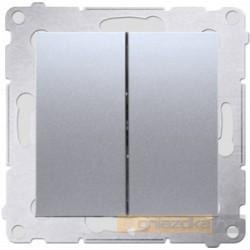 Przycisk zwierny podwójny srebrny mat Simon 54 Premium