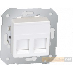 Gniazdo komputerowe podwójne RJ45 kat 5e biały Simon 27 Play