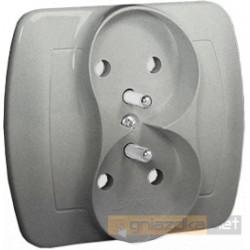 Gniazdo z uziemieniem aluminiowy metalizowany Akord