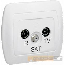 Gniazdo R-TV-SAT końcowe białe Akord