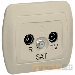 Gniazdo R-TV-SAT końcowe beż Akord