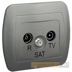 Gniazdo R-TV-SAT końcowe aluminiowy metalizowany Akord