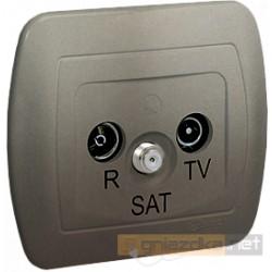 Gniazdo R-TV-SAT końcowe satynowy Akord