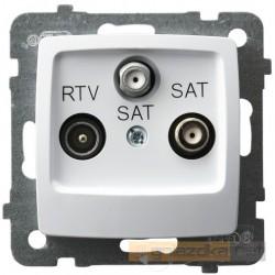 Gniazdo RTV-SAT z dwoma wyjściami SAT biały Karo Ospel