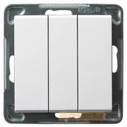 Łącznik potrójny, bez ramki biały Sonata Ospel