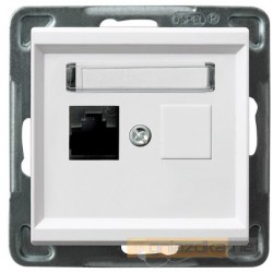 Gniazdo komputerowe, pojedyncze, kat. 5e biały Sonata Ospel