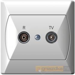 Gniazdo RTV końcowe 2,5-3 dB biały Akcent Ospel