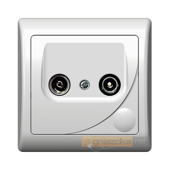 Gniazdo RTV końcowe GAR, 2,5-3 dB biały Efekt Ospel