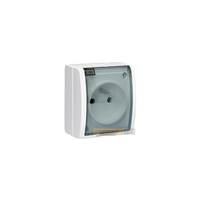 Gniazdo z uziemieniem IP44 klapka transparentna białe Aquarius