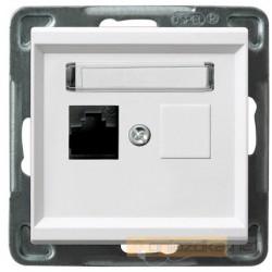 Gniazdo komputerowe, pojedyncze, kat. 6, biały Sonata Ospel