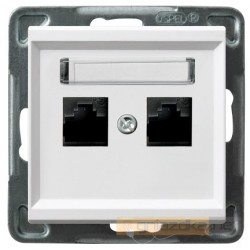 Gniazdo komputerowe, podwójne, kat. 5e, biały Sonata Ospel