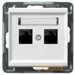 Gniazdo komputerowe, podwójne, kat. 6a, biały Sonata Ospel