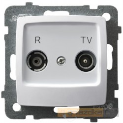 Gniazdo RTV przelotowe ZAP-14-dB biały Karo Ospel