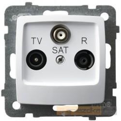 Gniazdo RTV-SAT przelotowe biały Karo Ospel