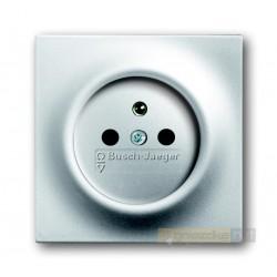 Gniazdo z uziemieniem aluminiowo srebrny Impuls ABB