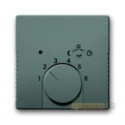 Regulator temperatury z lampką i przełącznikiem szary metalik Solo ABB