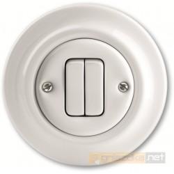 Przycisk zwierny podwójny biały Decento ABB