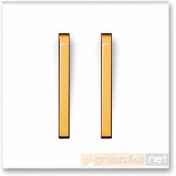 Łącznik podwójny świecznikowy biały / lodowo pomarańczowy NEO ABB