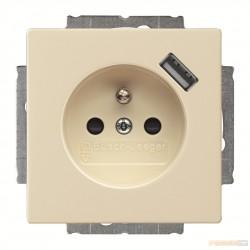 Gnaizdo z uziemieniem i ładowarką USB kość słoniowa Carat,Solo,Future ABB