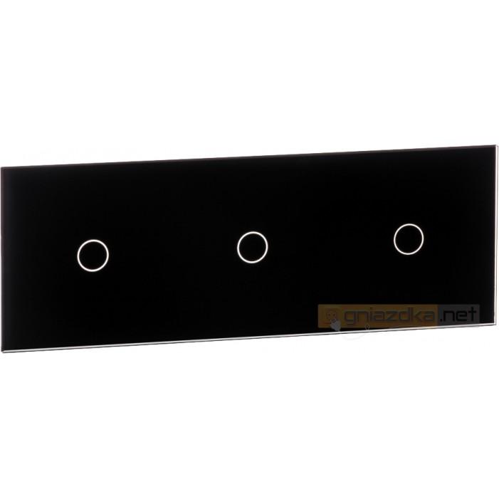 Panel dotykowy szklany czarny potrójny 1+1+1 Livolo