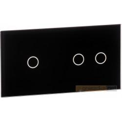 Panel dotykowy szklany czarny podwójny 1+2 Livolo