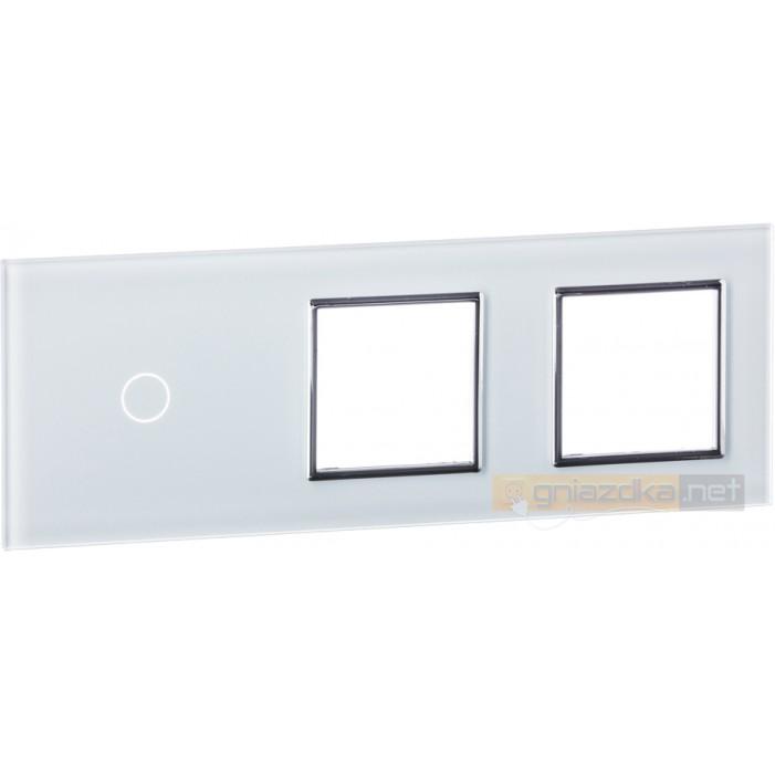 Panel dotykowy szklany biały 3-krotny 1+0+0 Livolo