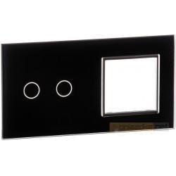 Panel dotykowy szklany czarny 2-krotny 2+0 Livolo