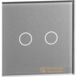 Panel dotykowy szklany srebrny podwójny Livolo