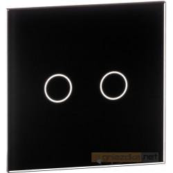 Panel dotykowy szklany czarny podwójny Livolo