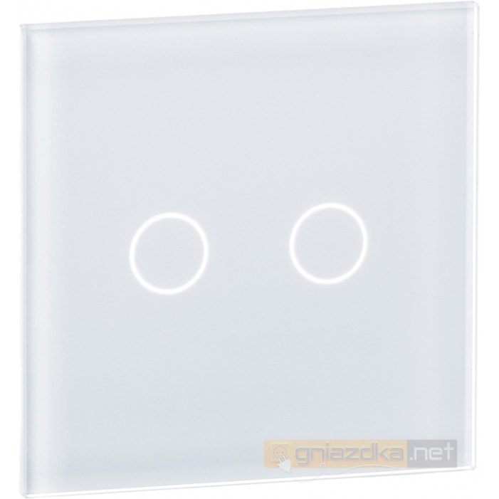 Panel dotykowy szklany biały podwójny Livolo