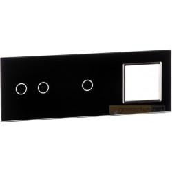 Panel dotykowy szklany czarny 3-krotny 2+1+0 Livolo