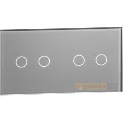 Panel dotykowy szklany srebrny 2-krotny 2+2 Livolo