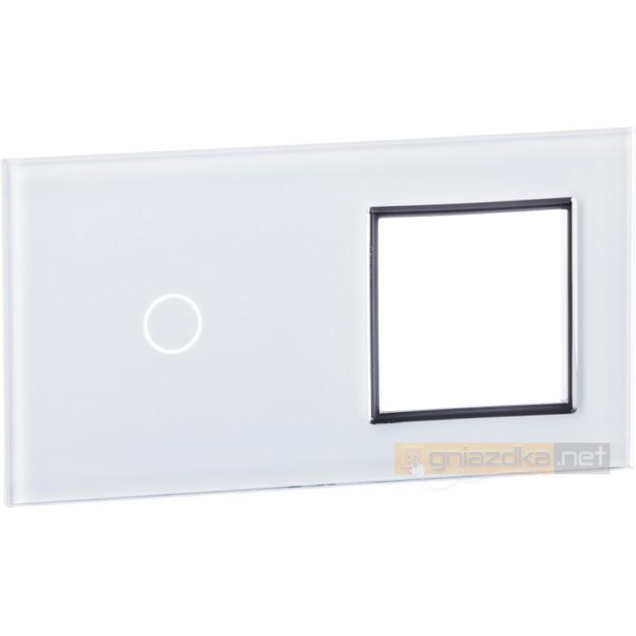 Panel dotykowy szklany biały 2-krotny 1+0 Livolo