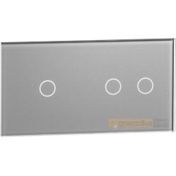 Panel dotykowy szklany srebrny podwójny 1+3 Livolo