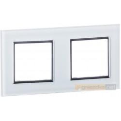 Ramka szklana biała podwójna Livolo