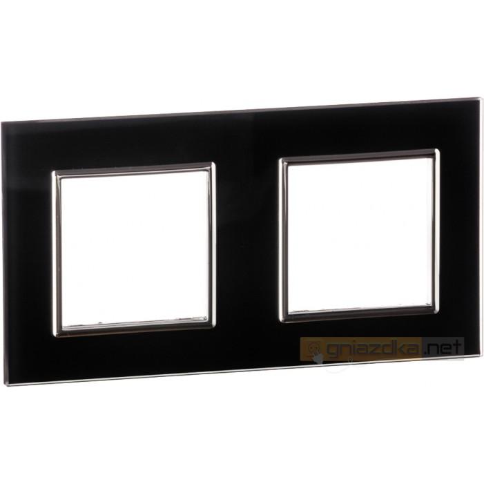 Ramka szklana czarna podwójna Livolo