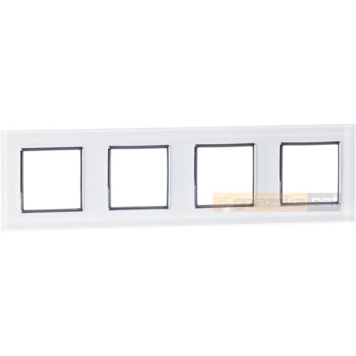 Ramka szklana biała podczwórna Livolo