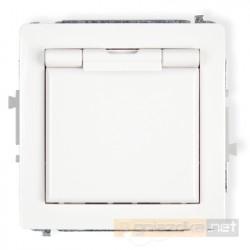 Gniazdo bryzgoszczelne z uziemieniem (biała klapka) 2P+Z biały Karlik Deco