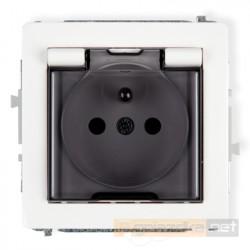 Gniazdo bryzgoszczelne z uziemieniem (klapka dymna) 2P+Z biały Karlik Deco