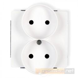 Gniazdo podwójne bez uziemienia 2x2P biały Karlik Deco