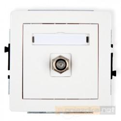 Gniazdo antenowe pojedyncze typu F (SAT) biały Karlik Deco