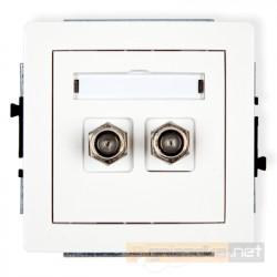 Gniazdo antenowe podwójne typu F (SAT) biały Karlik Deco