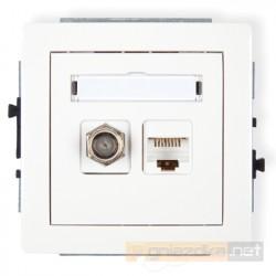 Gniazdo antenowo-komputerowe typu F(SAT) i RJ45 kat. 5e biały Karlik Deco
