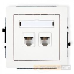 Gniazdo telefoniczne podwójne 2xRJ11 biały Karlik Deco