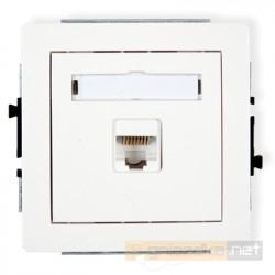 Gniazdo komputerowe pojedyncze 1xRJ45 kat. 5e ekranowane biały Karlik Deco