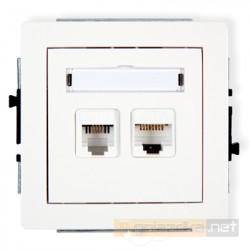 Gniazdo komputerowo-telefoniczne 1xRJ11 + 1xRJ45 kat 5e. biały Karlik Deco